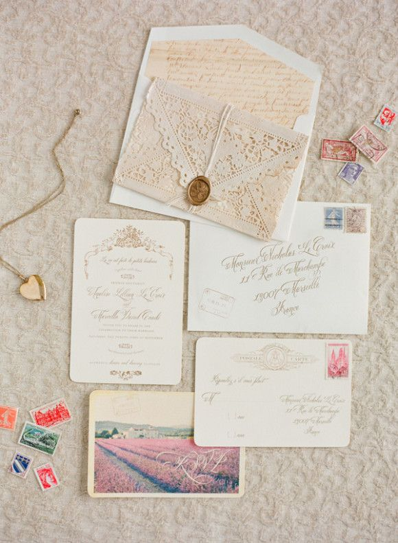 inspiration | french inspired wedding invitation suite | via: wedding sparrow
