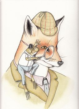 Painting of a suited fox and his companion frog. Mixed media, mostly watercolor and oil based colored pencils. 300g/m wa...