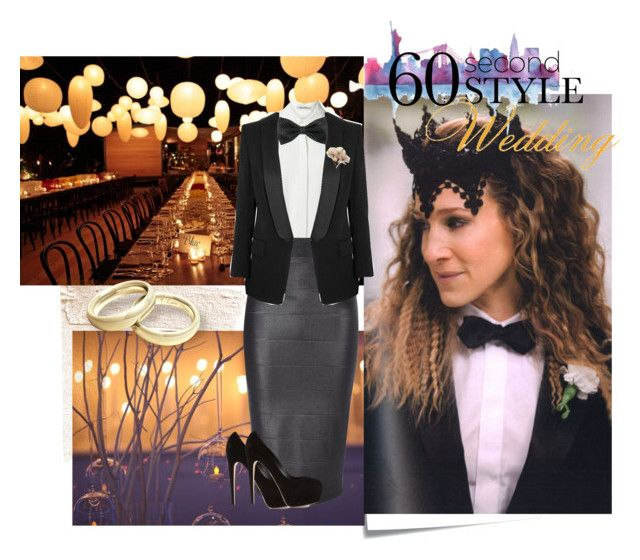 """""""60 Second Style: Black Tie Fall Wedding"""" by stvivian ❤ liked on Polyvore featuring Post-It, T By Alexander Wang, Jane Norman, Pierre Balmain, Brian Atwood, party, wedding, Tie, fall2014 and fallwedding"""
