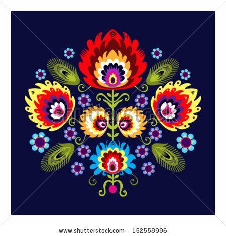 Mexican Folk Art Designs Birds Pattern With Flowers Pa Dutch Hex Signs Primitive Pinte