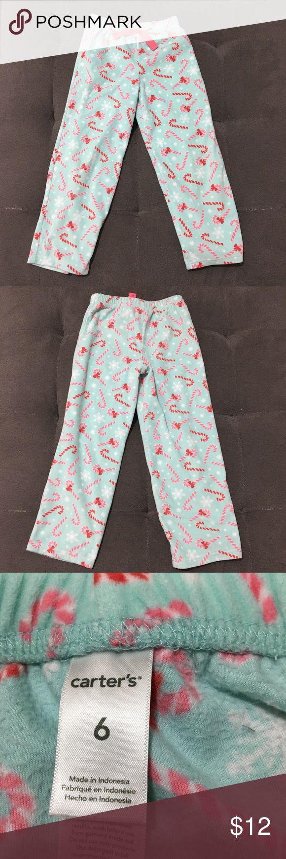 Carter's Christmas candy cane fleece pajama pants Carter's Christmas candy cane fleece pajama pants with elastic waist   Size 6  Good pre loved condition.   Bundle fav items for a personal discount. Offers are always welcome, too! No trades. Thank you! (17) Carter's Pajamas Pajama Bottoms