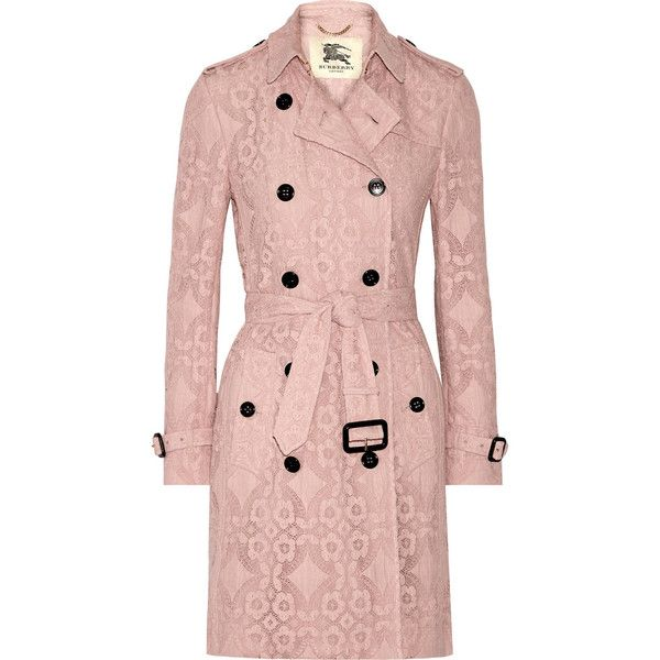 Burberry London The Kensington crocheted cotton-blend trench coat (£1,795) ❤ liked on Polyvore featuring outerwear, coats, pink, jackets, pastel pink coat, pink coat, pink trench coat, pastel coat and pink double breasted coat