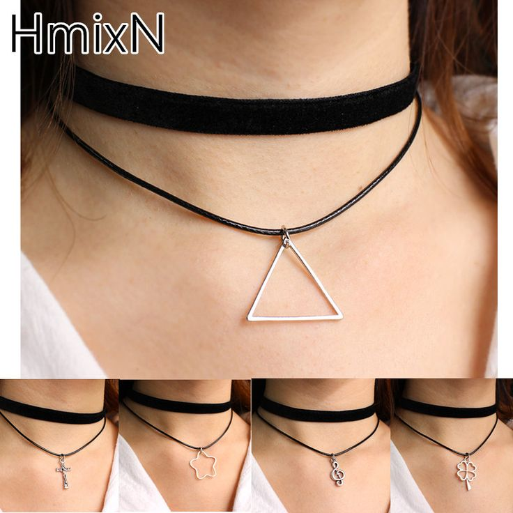 Minimalist choker Necklace rope chain Multilayer velvet Black Cross Clavicle leaf collier femme Vegan flower statement Collar