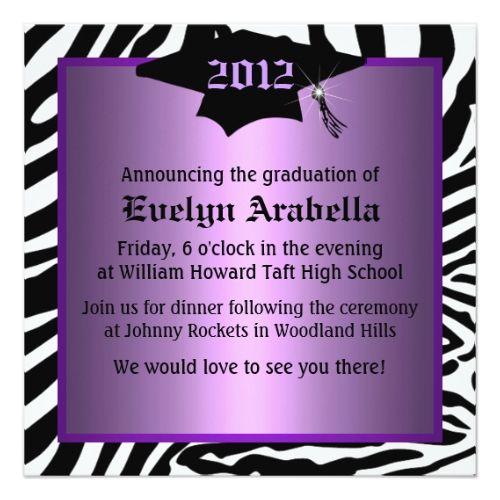 Purple Zebra Graduation Announcement