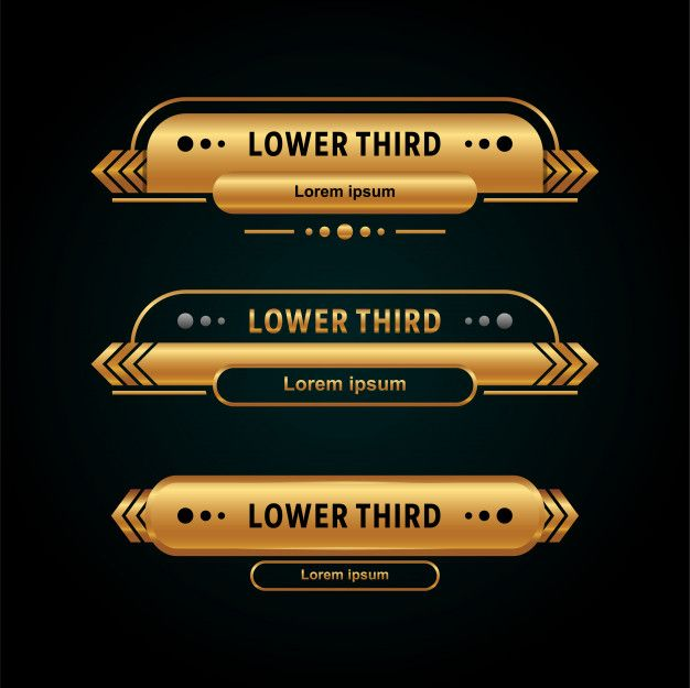 Modern Lower Third Collection Gold Color Lower Thirds Infographic Design Template Tv Set Design