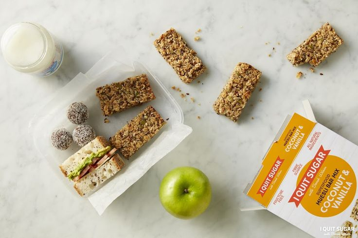 Surprise, that 'healthy' muesli bar you pack for lunches is not as healthy as you first thought. Its full of sugar. Our Coconut and Vanilla Muesli Bar Mix is sugar-free and much healthier. Now available at Woolworths. – I Quit Sugar