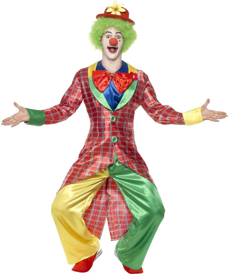 Disfraz de payaso para hombre: Este disfraz de payaso de tela satinada para hombre se compone de un pantalón verde y amarillo elástico en la cintura, una chaqueta larga a cuadros rojos con cuello y mangas amarillas y...