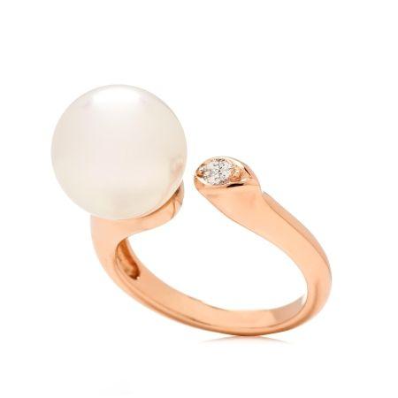 Matahina 11mm White SSea Rnd Pearl & Diamond Ring 18kt RG