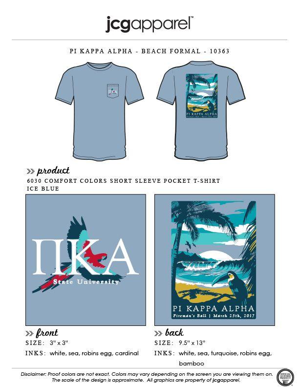 JCG Apparel : Custom Printed Apparel : Pi Kappa Alpha Beach Formal T-Shirt #pikappaalpha #pike #pka #beach #formal #toucan #parrot #tropical