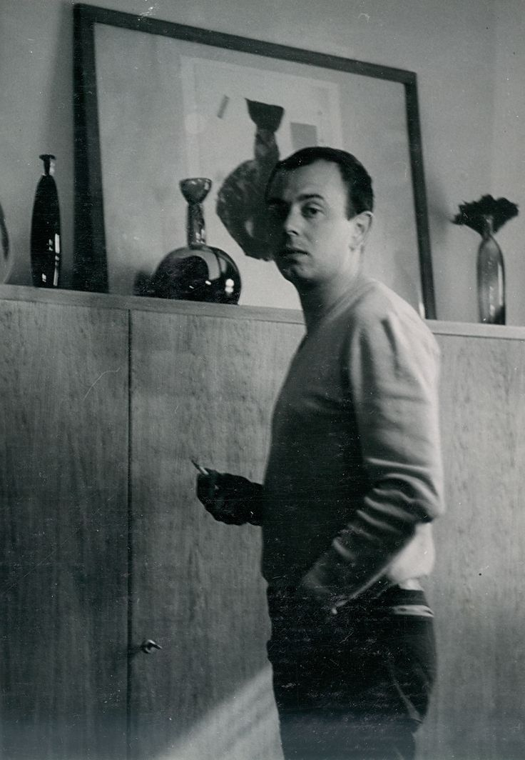 "Lubomir Blecha, author with his glass artifacts from series ""Africanicae & Negroicae"", 1962"
