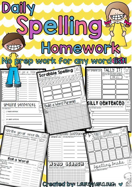 No Prep Spelling Practice And Word Work Spelling