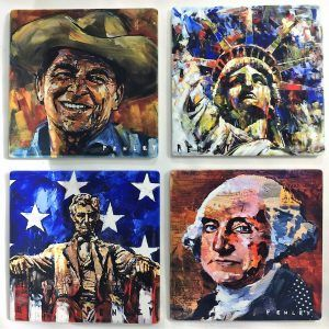 Custom-made sand stone coasters featuring artwork by renowned artist, Steve Penley.  See link in profile and click on PENLEY Gifts. #penley #stevepenley #coasters #america #buylocal #presidents #statueofliberty #washington #lincoln #reagan
