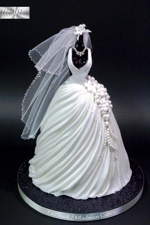 Wedding Dress Cake by MLADMAN - http://cakesdecor.com/cakes/240238-wedding-dress-cake