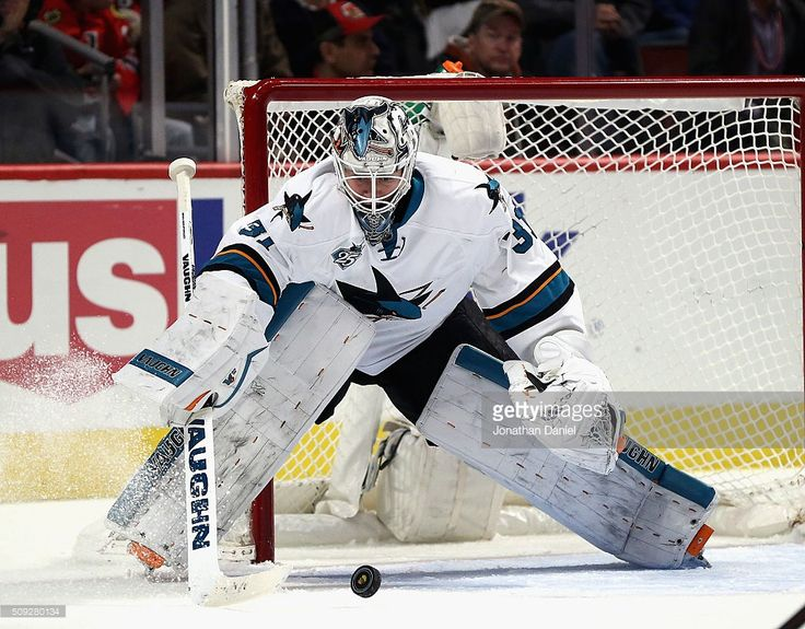 Martin Jones #31 of the San Jose Sharks makes a save in the third period against the Chicago Blackhawks at the United Center on February 9, 2016 in Chicago, Illinois. The Sharks defeated the Blackhawks 2-0.