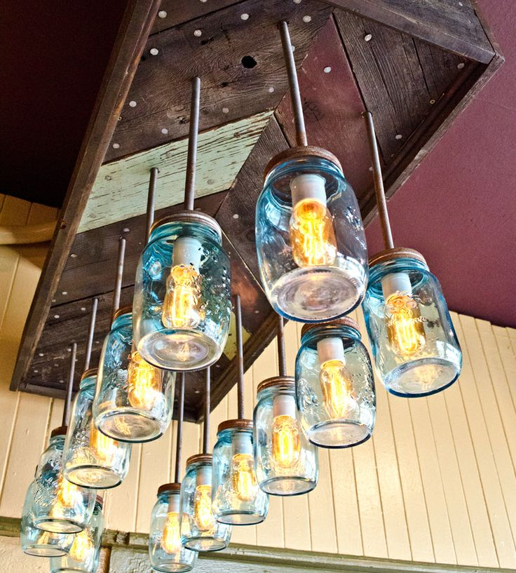 Waylon Reclaimed Wood & Mason Jar Chevron Chandelier  in Lighting by Red Picket Fence on Scoutmob Shoppe.
