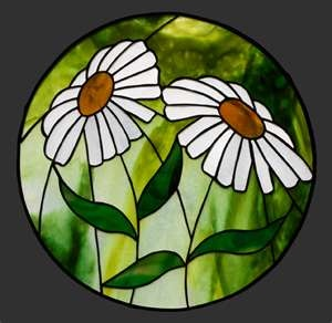 Sweet circular window! Stained glass daisies