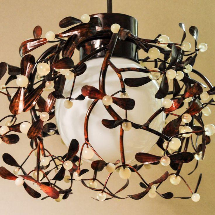 Copper lamp mistletoe, hanging lamp, copper leaves, resin balls