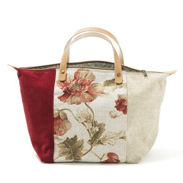 Handbag -Mala de mão em chenille, forro interior em sarja/ganga. Pegas duplas em…