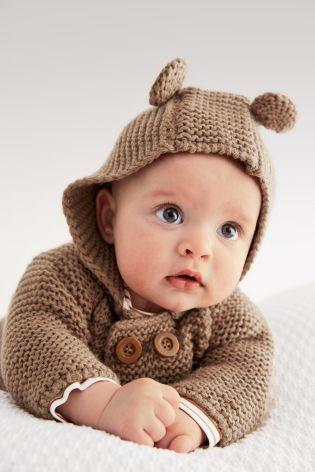 赤ちゃんに着せたいカーディガンのアイデア☆ハイハイ赤ちゃんに、くまちゃんカーディガン♡