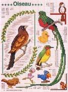 Schema punto croce Uccelli Tropicali