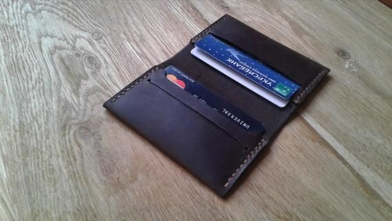 Leather credit card holder Wallet for man Leather billfold simple wallet Brown leather bi-fold wallet Slim wallet Father's day gift