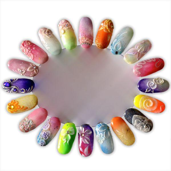 Quelques idées nail art : One Stroke, 3D et 4D, aquarelle… | Tartofraises http://www.nail-art.fr/idee-nail-art-capsule-4d-3d-one-stroke/