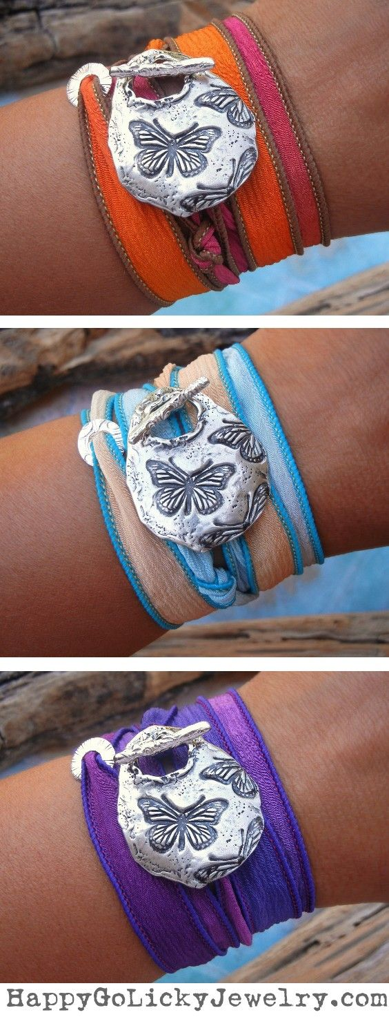 Butterfly Jewelry Gift, Unique Butterflies Silk Wrap Bracelets by HappyGoLicky | CLICK & use coupon code PIN10 to save 10% now. ONLY $49.95 each.