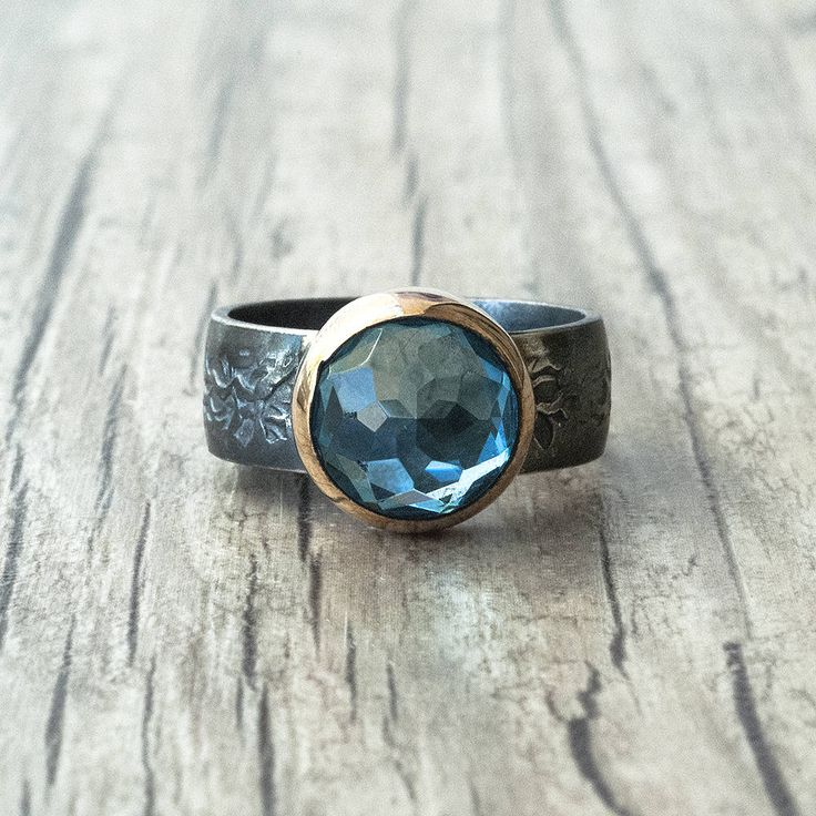 Blue Topaz Ring, Sterling Silver and Gold Blue Gemstone Ring