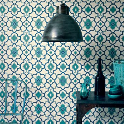 Fired Earth Wallpaper! Looks just like North African tiles! :)