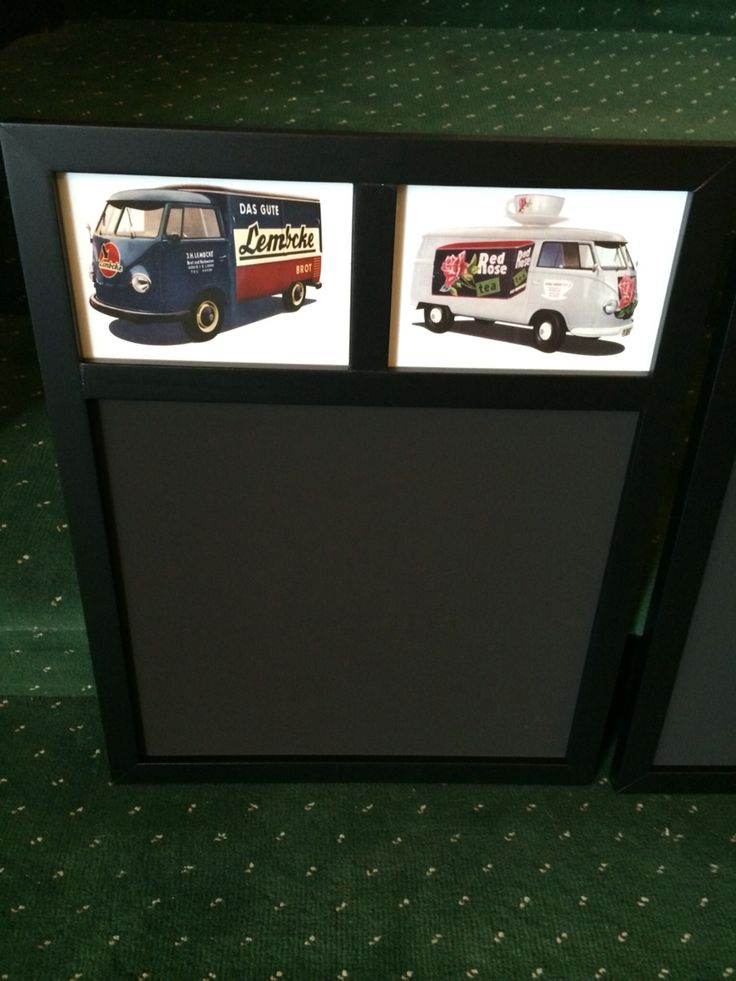 """Just arrived and the perfect gift for the VW enthusiast. Chalk memo boards 13""""x16.5"""" in 4 different styles all depicting different Splitscreen transporters and vans mounted behind glass ( the pics are licensed VW postcards and are beautifully printed on thick stock card)  £7.50 each or £11 posted.  4/4"""
