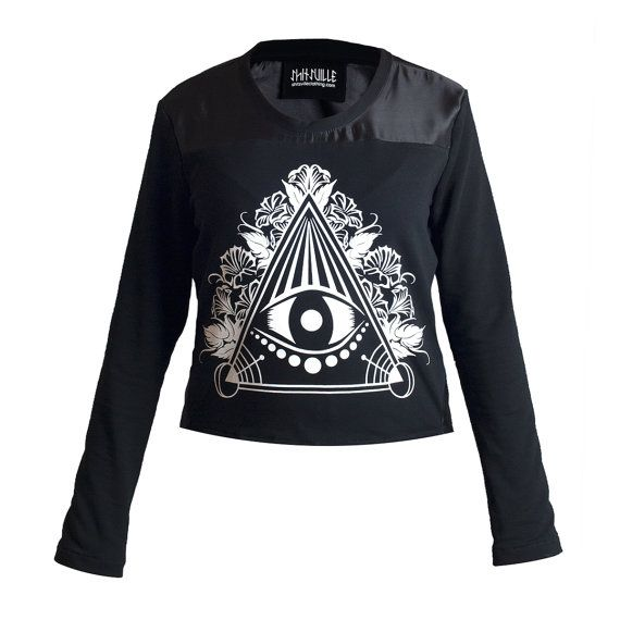 Black occult t-shirt satin jersey cotton tee long by Sclothing