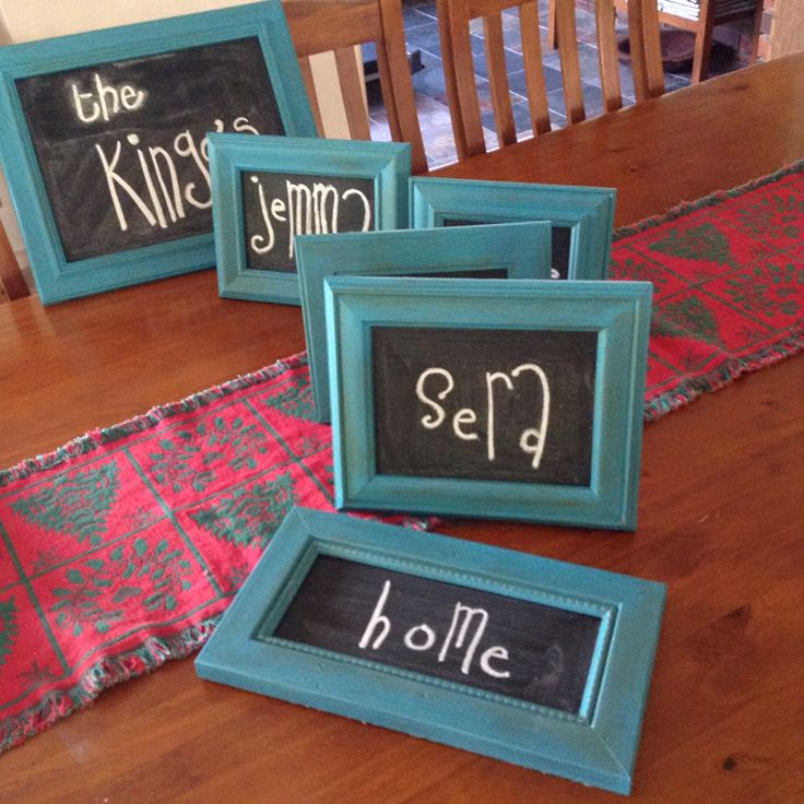 Old photo frames: add chalk paint & blackboard paint = new lease of life! Thrifty Chrissy gifts
