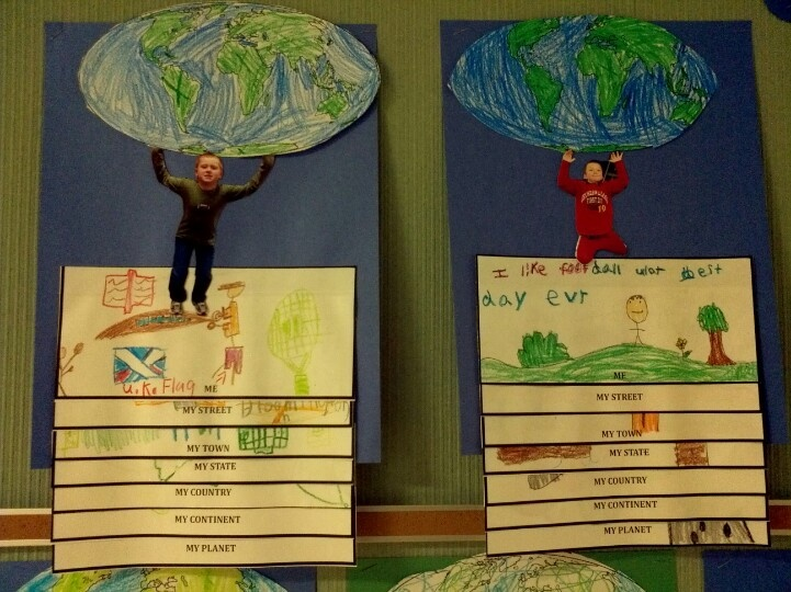 Our place on the map! Students drew pictures or wrote words to describe their street, town, state, country, continent, and planet and colored their globe, learning continents and oceans before putting them all together in a fun and creative way that the kids LOVED