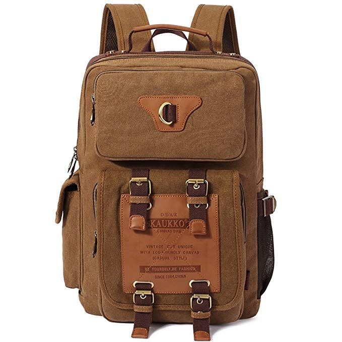 Rucksäcke Vintage Herren Schulrucksack Wanderrucksack KAUKKO Canvas  Rucksacke Retro Stylisch Backpack für Outdoor Reisen Wandern mit 22924b7d53