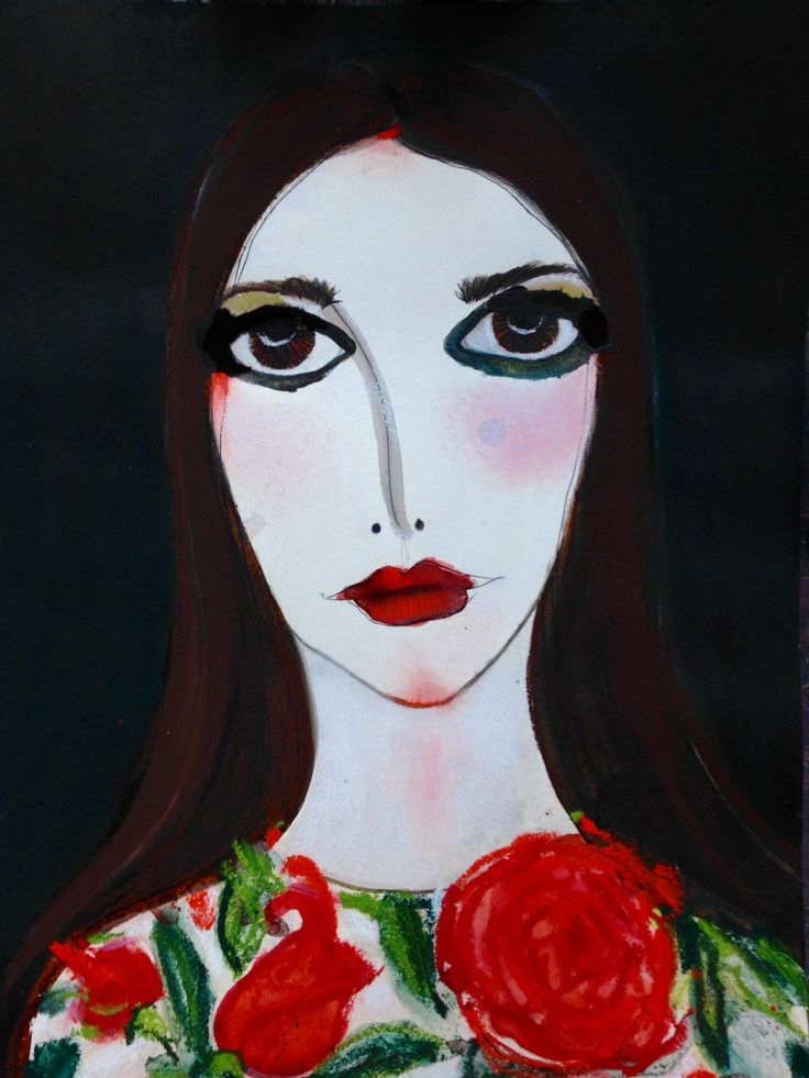 The inspiring Giovanna Battaglia painted by #UnskilledWorker in our ongoing AW15 Fashion Month collaboration. One of my favorite artists!