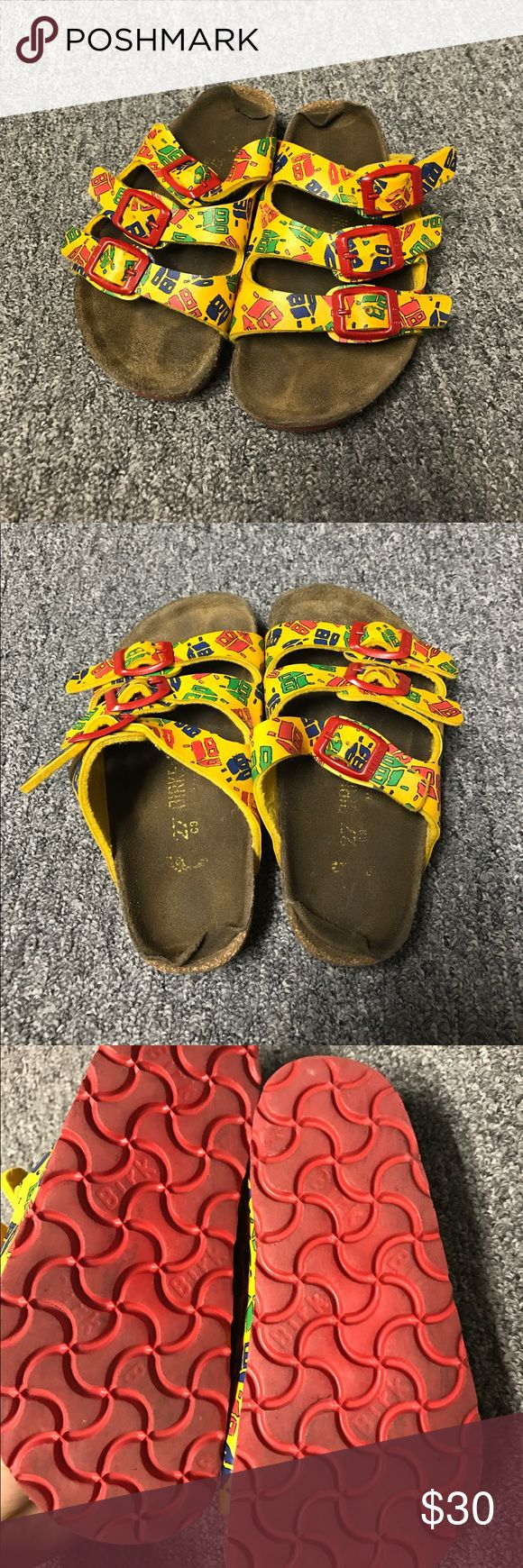 Worn Birkenstock's for kids! Size 27! Good looks Size 27 Birkenstock's for kids! Worn soles but the straps and bottoms are in pretty good condition! Let me know if you have questions:) Birkenstock Shoes Sandals & Flip Flops