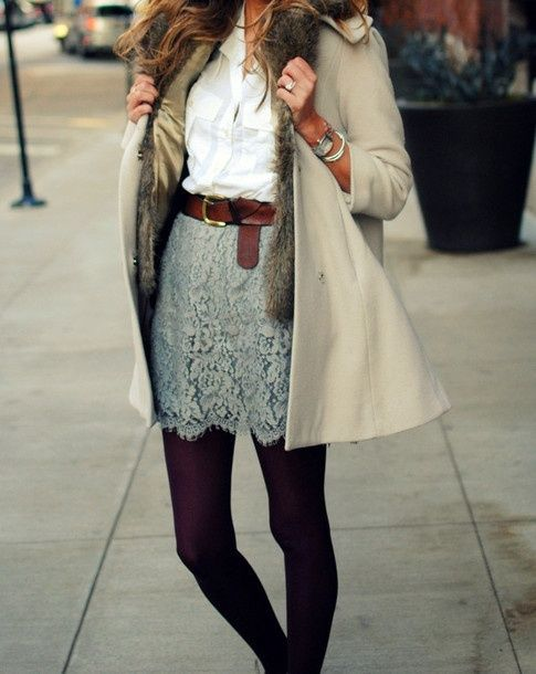 grey lace skirt, white button up, eggplant tights.