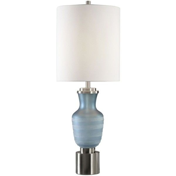 Uttermost Acciano Table Lamp ($550) ❤ liked on Polyvore featuring home, lighting, table lamps, sky blue, blue lights, uttermost lighting, blue table lamp, uttermost table lamps and blue lamp