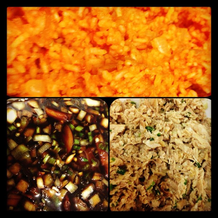 Chamorro Food: chicken kelaguen, red rice & finadene