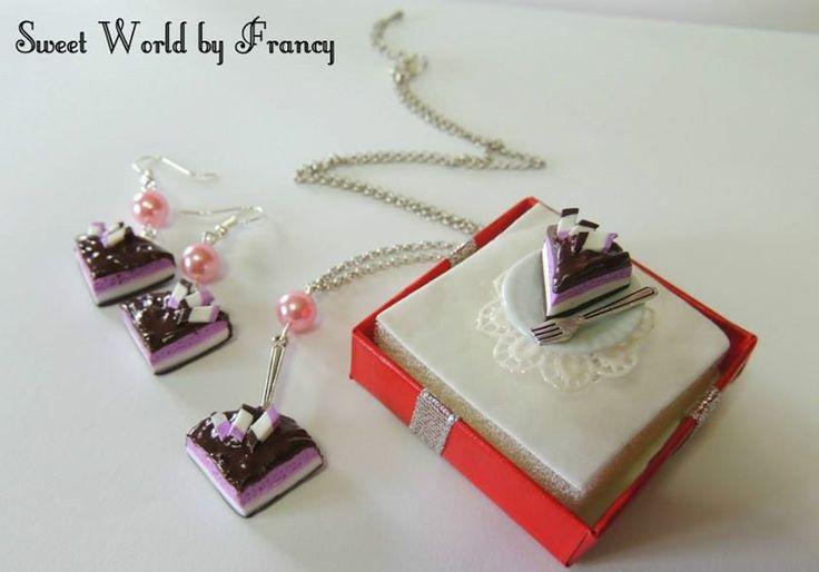 set anello orecchini e collana fette di torta