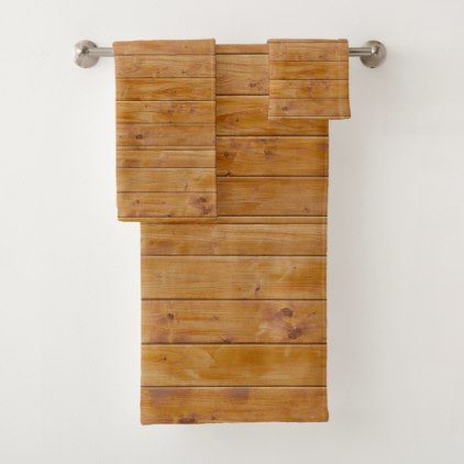 Barn Wall Wooden Planks Wood Background - Brown Bath Towel Set - barn gifts style ideas unique custom