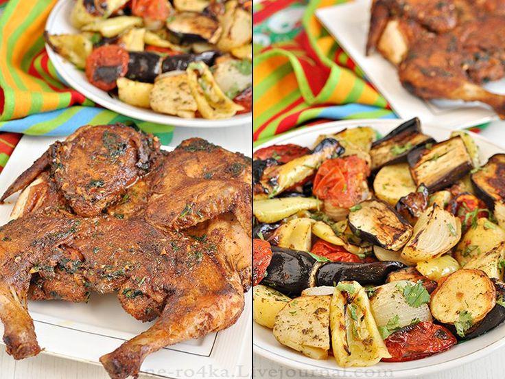 """""""Цыплёнок тапака""""  Цыпленок (у нас курица, весом 1,5 кг.) Аджика грузинская (классическая, только из перцев чили, без всяких добавок специй и томатов), можно на харрису заменить - 3-4 ч.л., Сливки 10%, или 22% - 200 мл., Чеснок - 4-5 зуб., Масло сливочное - 50 гр,, Масло растительное - 3-4 ст.л. Кинза (петрушка, но кинза предпочтительней)- маленький пучок."""