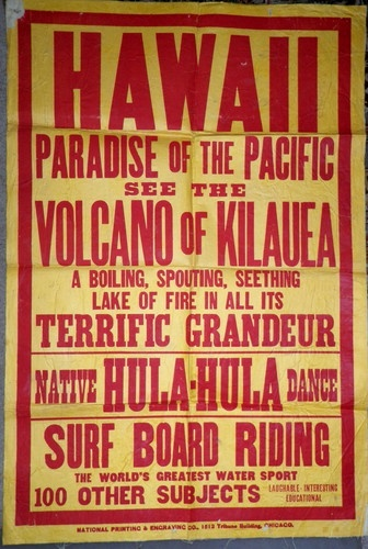Vtg Hawaii Antique Poster Travel Lecture Surfing Hula Volcano etc Original | eBay