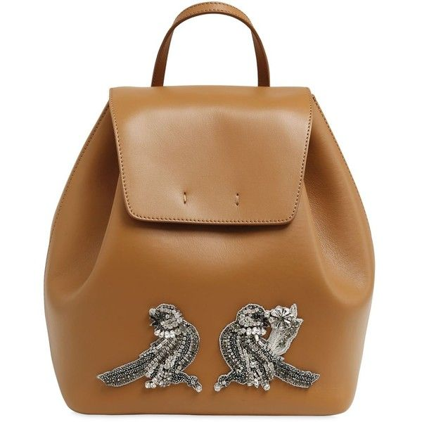 N°21 Women Leather Backpack W/ Bird Appliqué (€715) ❤ liked on Polyvore featuring bags, backpacks, camel, embroidered backpack, leather daypack, leather rucksack, leather bags and genuine leather backpack