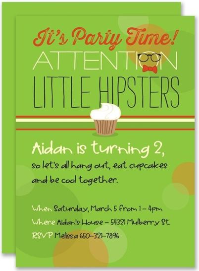Little Hipsters Birthday Party Invitation