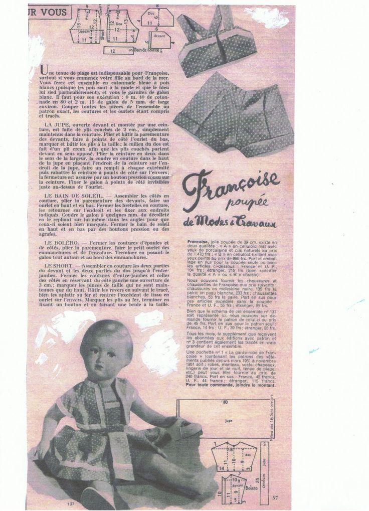 PAR AMOUR DES POUPEES :: M&T 1952-08 tenue de plage pour Françoise (couture)