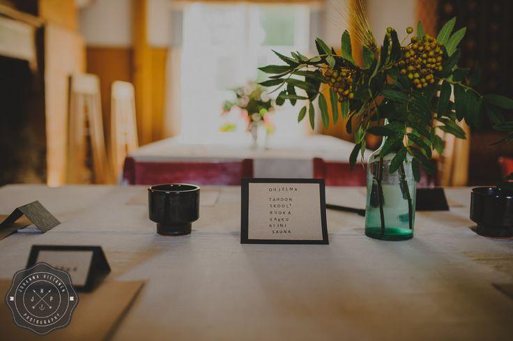 DIY wedding decoration, wedding program card.  http://johannahietanen.com/finland-wedding-photographer/