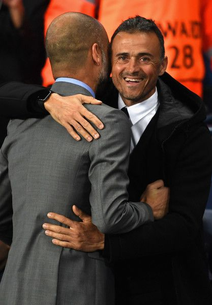Josep Guardiola manager of Manchester City (L) and Luis Enrique manager of Barcelona (R) embrace prior to kick off during the UEFA Champions League Group C match between Manchester City FC and FC Barcelona at Etihad Stadium on November 1, 2016 in Manchester, England.
