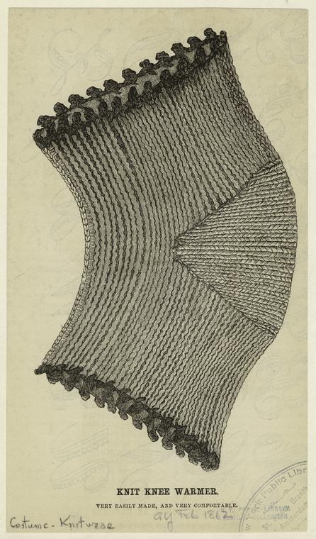 knit knee warmer Godey's Feb 1862