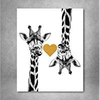 Gold Foil Art Print - Giraffe Love With Gold Foil Heart 8x10 inches